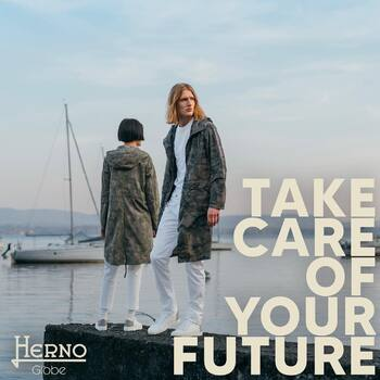Cloudy day - HERNO TIME HERNO GLOBE  TAKE CARE OF YOUR FUTURE - Herno Globe expresses our goal to preserve the environment and encompasses all the sustainable projects of the brand.  RECYCLED CAMOUFLAGE Made with the New Life polymer, created by transforming post-consumer plastic bottles into recycled polyester threads of high quality.  #Herno #HernoGlobe #Globe #sustainability #takecareofyourfuture #ss21☀️